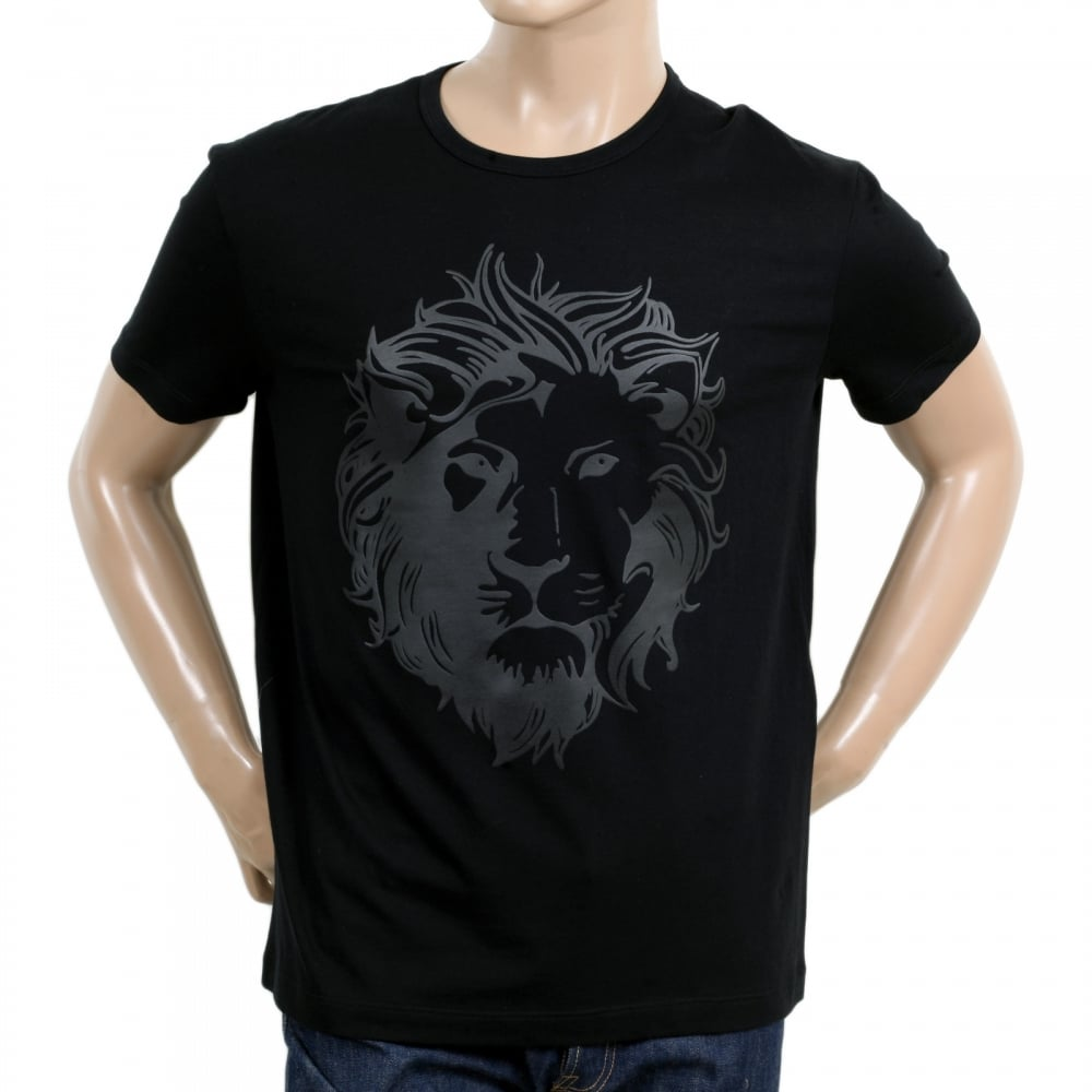 a73b770a2f4874 VERSACE JEANS Black Short Sleeve Crew Neck Regular Fit Mens T Shirt with  Self Coloured Printed Lion Head