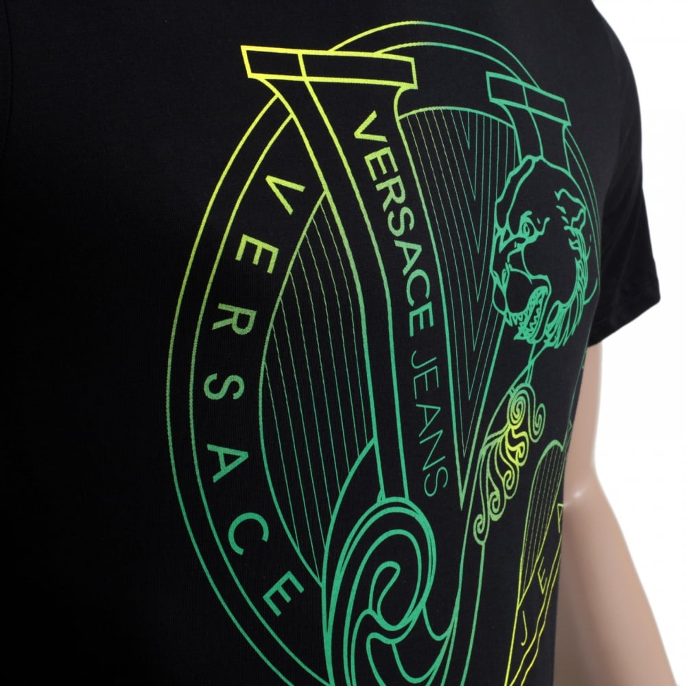 Logo Printed Black Crew Neck T Shirt By Versace Jeans