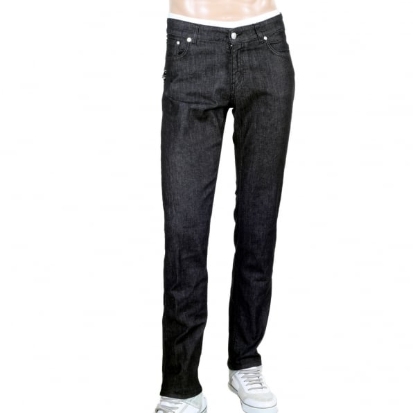 VERSACE Black Slim Fit Low Waist Stretch Jeans with Silver Lion Head Studs and Removable Lion Head Safety Pins
