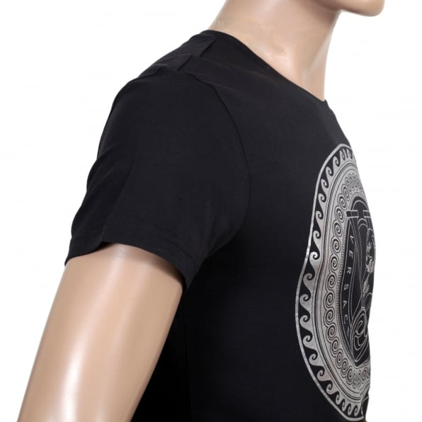 VERSACE Black Slimmer fit Crew Neck T Shirt with Large Silver Coloured Logo Print on Chest
