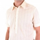 VERSACE Couture Woven Striped Short Sleeved Fitted Shirt