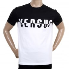 Crew Neck Short Sleeve Monochrome Black and White Versus Logo Tee Shirt