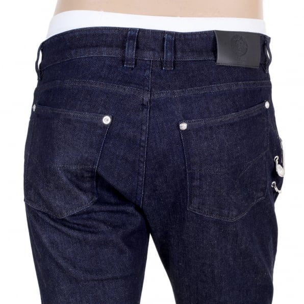 VERSACE Dark Indigo Blue Slim Fit Low Waist Jeans with Lion Head Adorned Removable Safety Pins