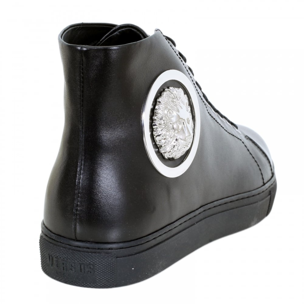 Versace Black Leather Hi Top Trainers