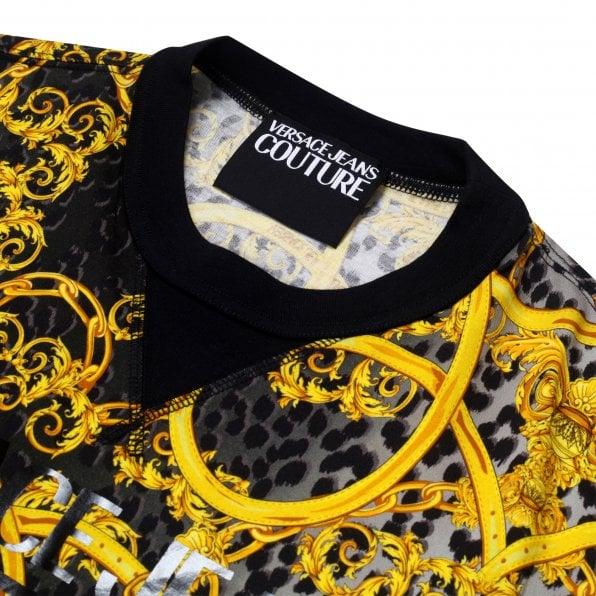 VERSACE JEANS COUTURE Mens Black Chain Print Short Sleeve T shirt
