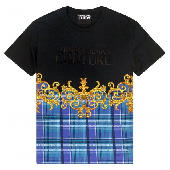 VERSACE JEANS COUTURE Mens Logo and Printed Short Sleeve Black T Shirt VJC9699