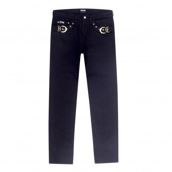 VERSACE JEANS COUTURE Mens Slim Fit Stretch Black Jeans with Buckle Trim