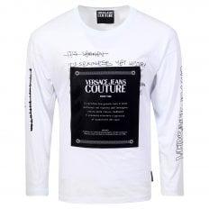 Versace Mens Logo Certificate Long Sleeve White T Shirt