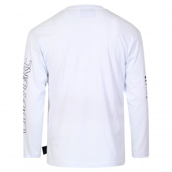 VERSACE JEANS COUTURE Versace Mens Logo Certificate Long Sleeve White T Shirt