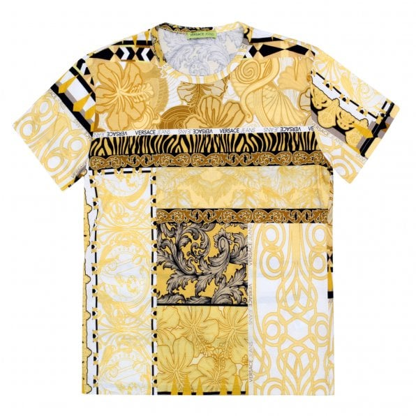 VERSACE JEANS Mens Regular Fit Short Sleeve Crew Neck Cotton T-Shirt with Gold Pop Print