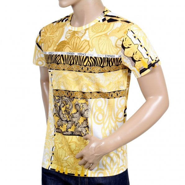 VERSACE JEANS Mens Regular Fit Short Sleeve Crew Neck Cotton T-Shirt with Gold Pop Print