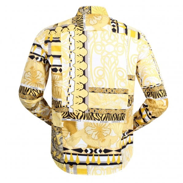 VERSACE JEANS Slimmer Fit Long Sleeve Gold Pop Print Darted Back Cotton Shirt for Men with Soft Collar