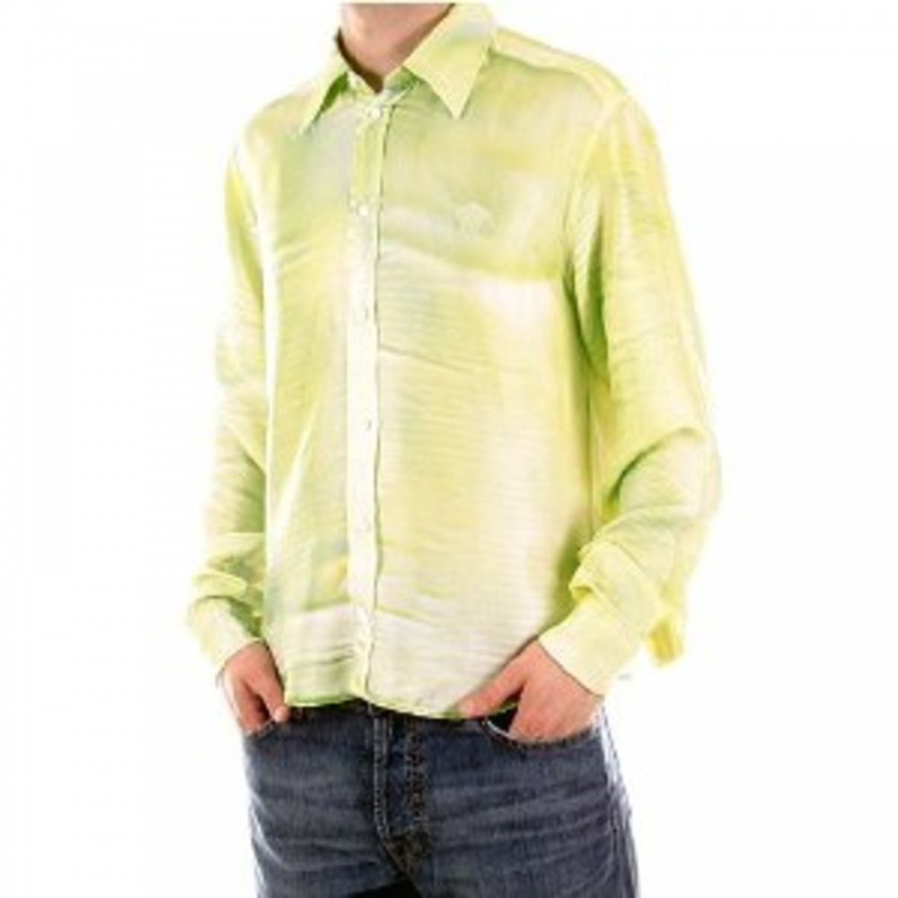 0f4afc50ac5747 ... VERSACE JEANS Light Green Long Sleeve Fitted Silk Shirt ...