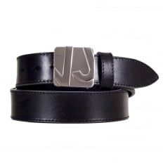 Logo Embossed Silver Pin Buckled Casual Black Leather Belt for Men with Smooth Finish