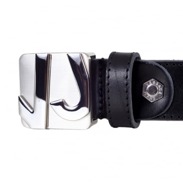 VERSACE JEANS Logo Embossed Silver Pin Buckled Casual Black Leather Belt for Men with Smooth Finish