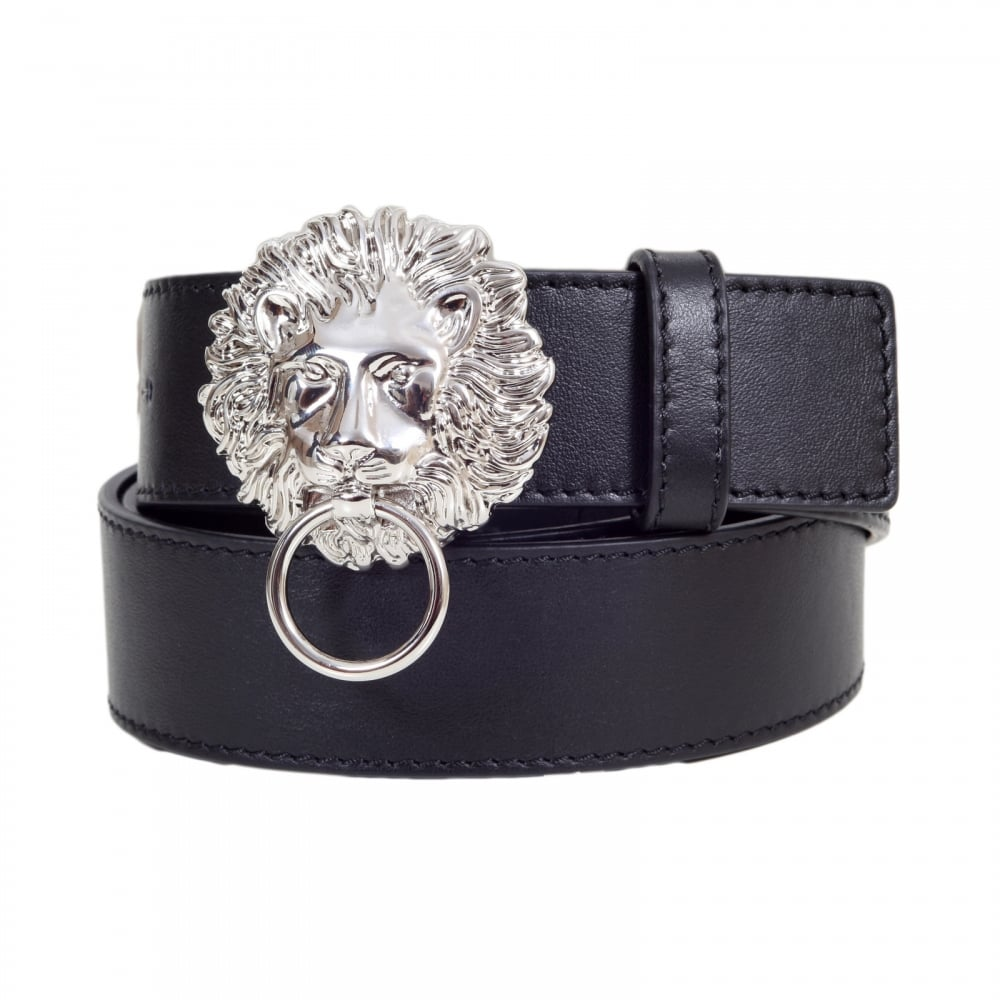 35194b808ee6b0 VERSACE JEANS Mens Black Leather Belt FCU0048 FV10 with Lion Head and Ring  Silver Buckle and Square Belt Tip