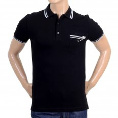 Mens Black Piquet Short Sleeve Polo Shirt