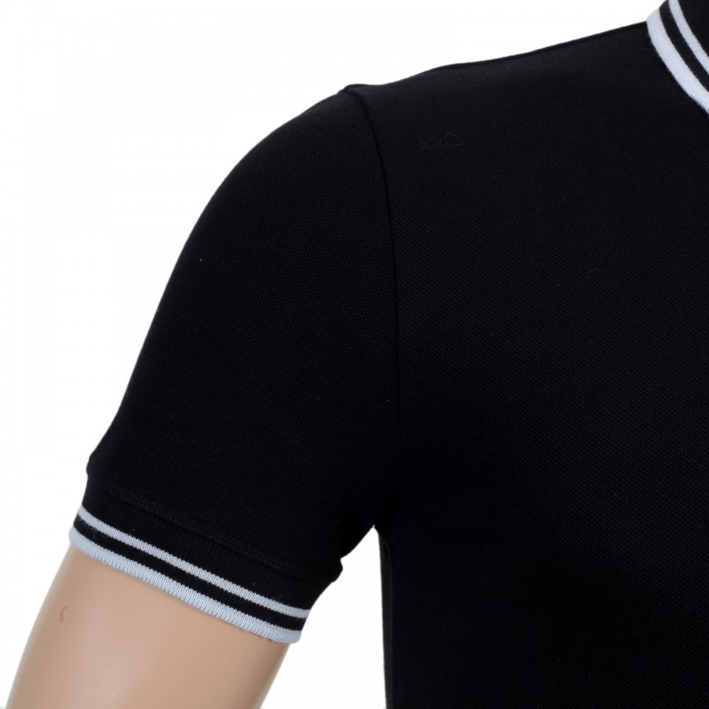 b3aecc04e3e63 ... VERSACE JEANS Mens Black Piquet Short Sleeve Polo Shirt ...