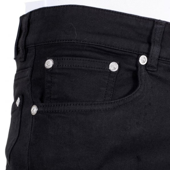 VERSACE Mens Black Slim Fit Low Waist Stretch Denim Jeans with Silver Lion Head Studs