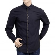 Mens Black Slim Fit Text Logo Piped Placket Cotton Shirt with Soft Collar and Rounded Tail