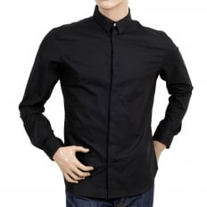 Mens Black Stretch Cotton Large Self Coloured Lion Head Embroidered Slim Fit Shirt with Soft Collar
