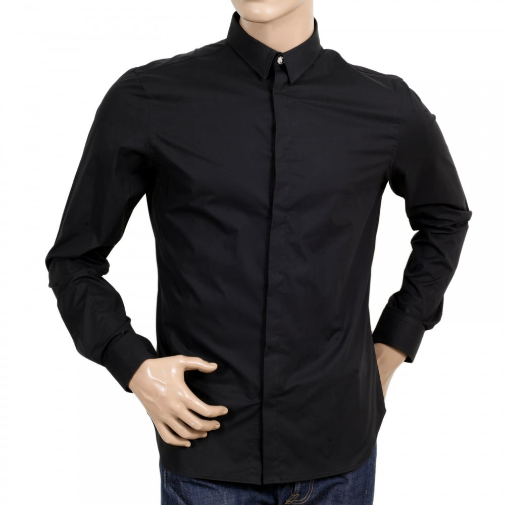... VERSACE Mens Black Stretch Cotton Large Self Coloured Lion Head  Embroidered Slim Fit Shirt with Soft ...