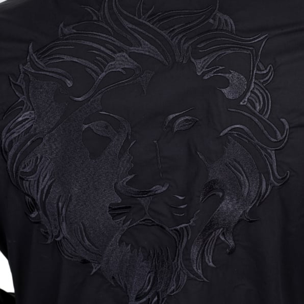 VERSACE Mens Black Stretch Cotton Large Self Coloured Lion Head Embroidered Slim Fit Shirt with Soft Collar