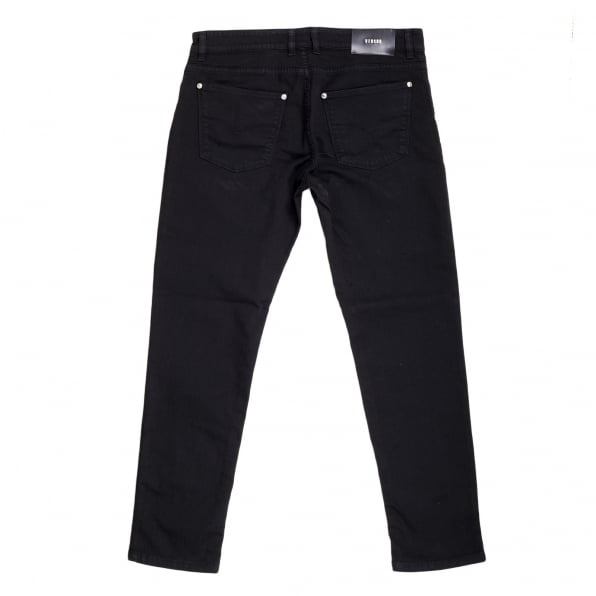 VERSACE Mens Black Stretch Slimmer Fit Jeans with Silver Lion Head Rivets