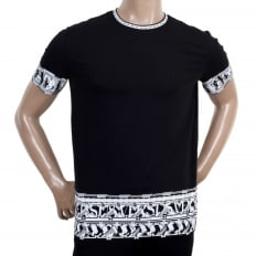 Mens Crew Neck Short Sleeve Printed Cotton T Shirt with Lion Head Border