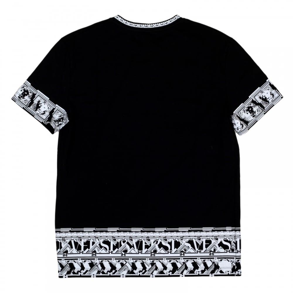 Shop for versace black t shirt with lion head sleeves for Printed short sleeve shirts