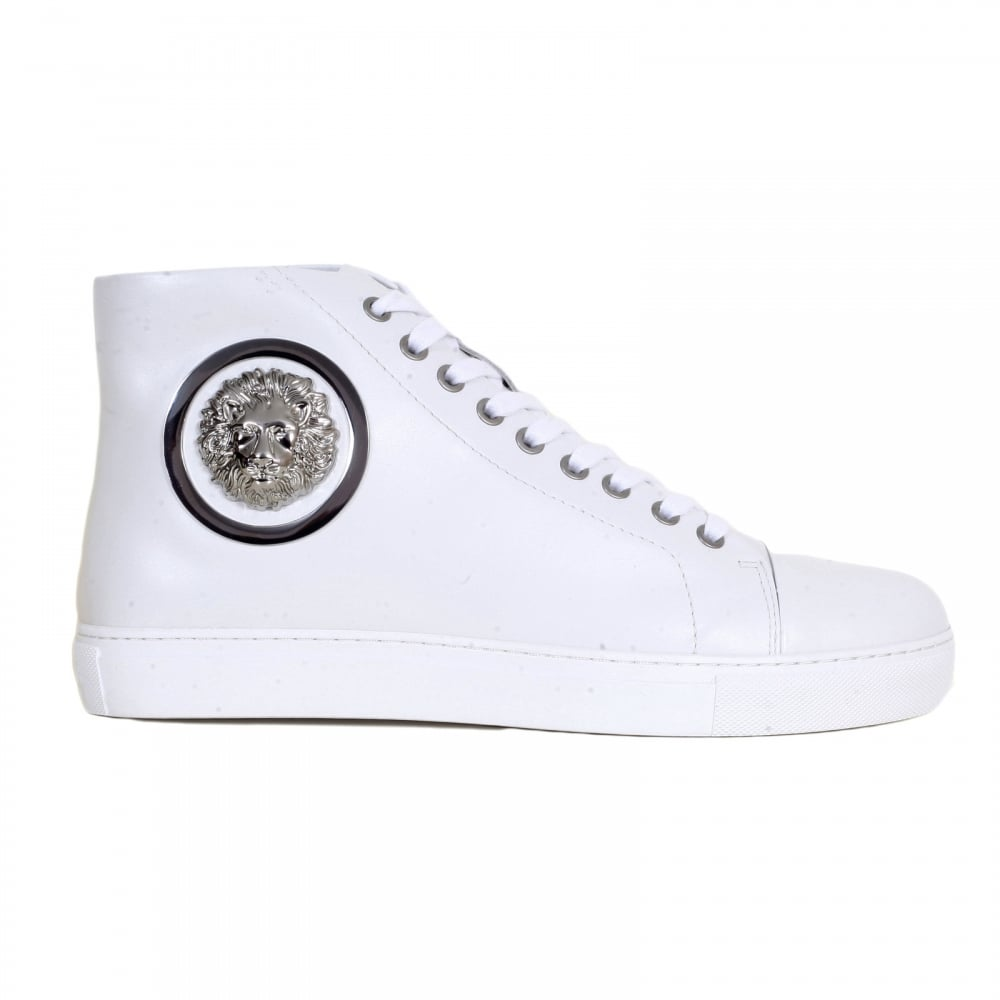 mens white leather hi top sneakers