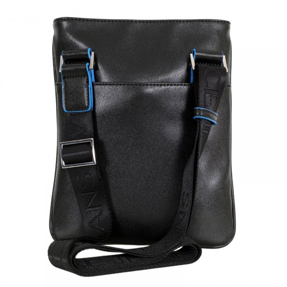 c820ecaaf0 VERSACE JEANS Mens Linea Basic Black Bag with Black Piped Trim and Logo  Adorned Adjustable Canvas Shoulder Strap