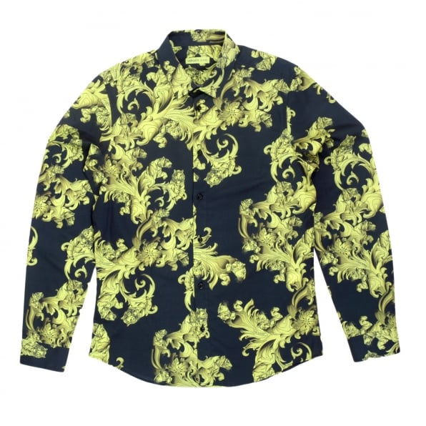VERSACE JEANS Mens Long Sleeve Slim Fit Cotton Black Shirt with Lime and Yellow Baroque Print and Logo Embossed Buttons