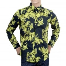 Mens Long Sleeve Slim Fit Cotton Black Shirt with Lime and Yellow Baroque Print and Logo Embossed Buttons
