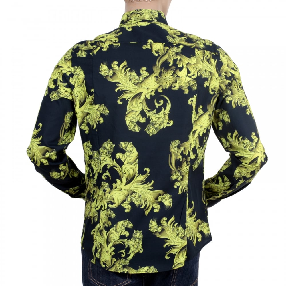 dde8aa3b ... VERSACE JEANS Mens Long Sleeve Slim Fit Cotton Black Shirt with Lime  and Yellow Baroque Print ...