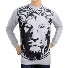 Mens Marl Grey Regular Fit Long Sleeve Crew Neck Sweatshirt with Rubberised Outline Lion Head Print in Black