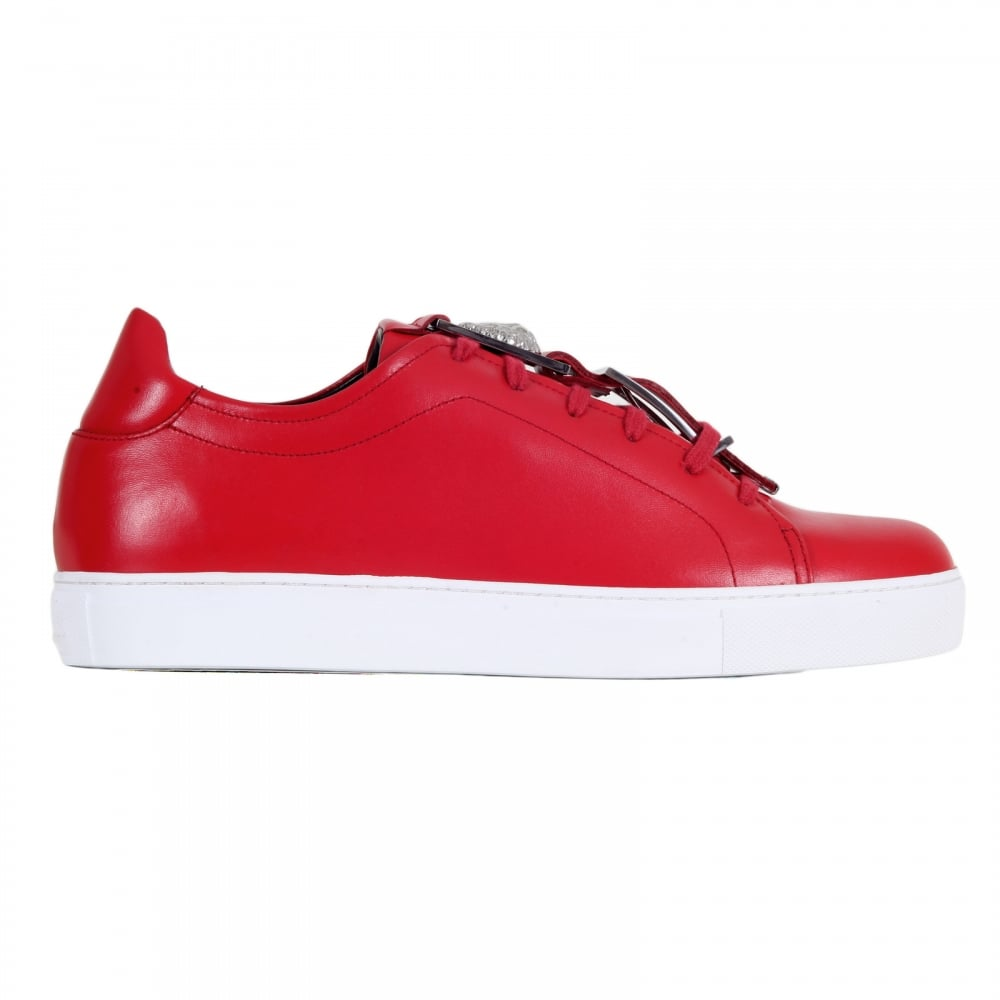 0d57b1ed3581 VERSACE JEANS Mens Red Leather Sneakers with a Lion Head Featured Leather  and Silver Buckle