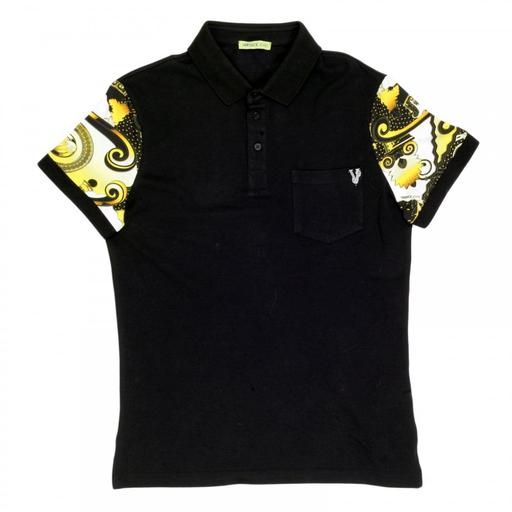 1cf0d7aba VERSACE JEANS Mens Regular Fit Black Polo Shirt with Short Printed Sleeves  and Metal Logo Badge ...