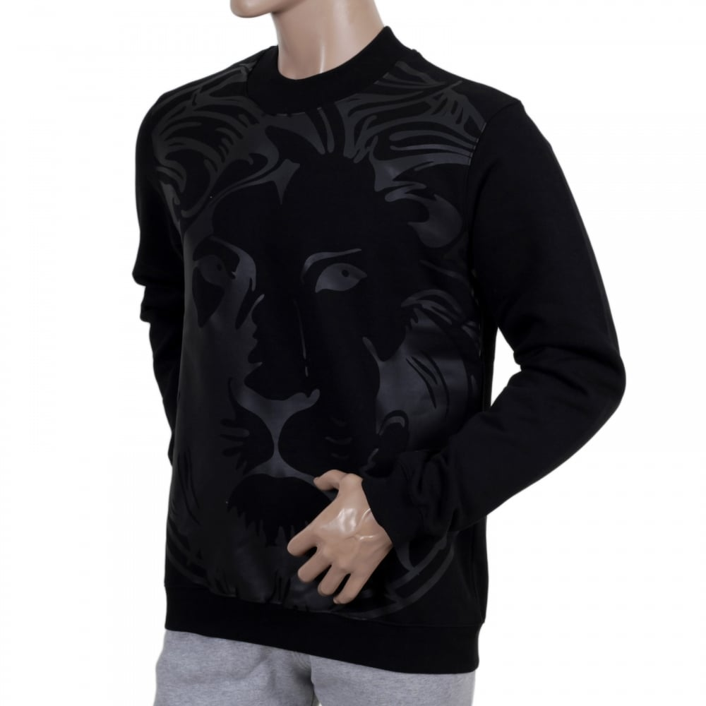 bd32cbfb43f2 VERSACE JEANS Mens Regular Fit Lion Head Printed Sweatshirt in Black with  Ribbed Crewneck Sleeve Cuffs and Waistband