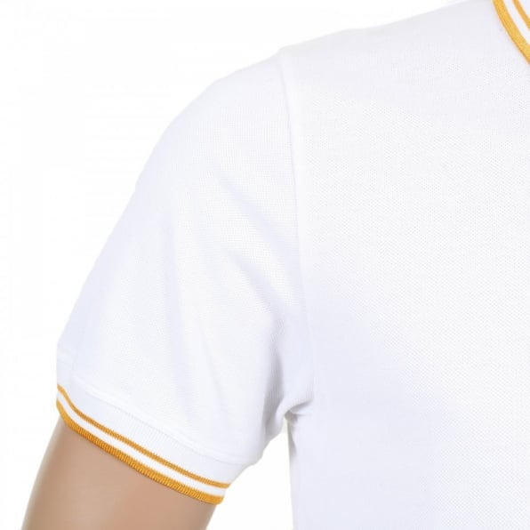 VERSACE Mens Regular Fit Short Sleeve Cotton Polo Shirt in White