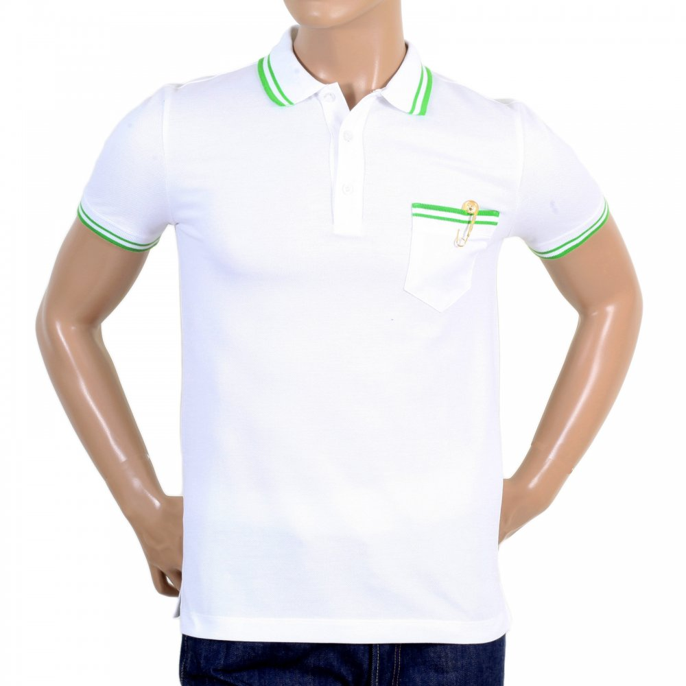 Buy Striped Mens White Polo Shirt From Versace Today