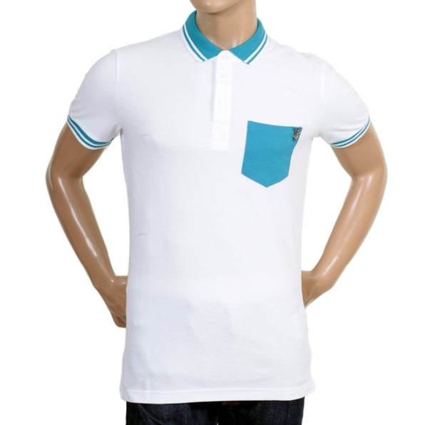 VERSACE Mens Short Sleeve 3 Button Cotton White Polo Shirt with Metal Signature Logo on Single Blue Chest Pocket