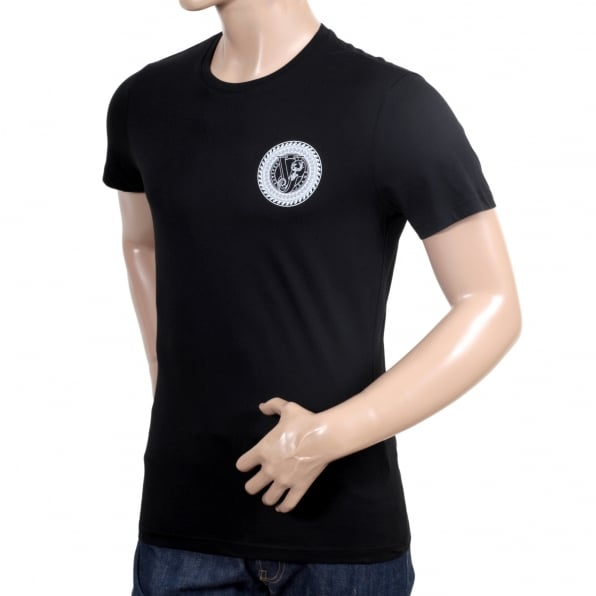 VERSACE JEANS Mens Short Sleeve Crew Neck Slimmer Fit Black T Shirt with White Printed Logo on Chest