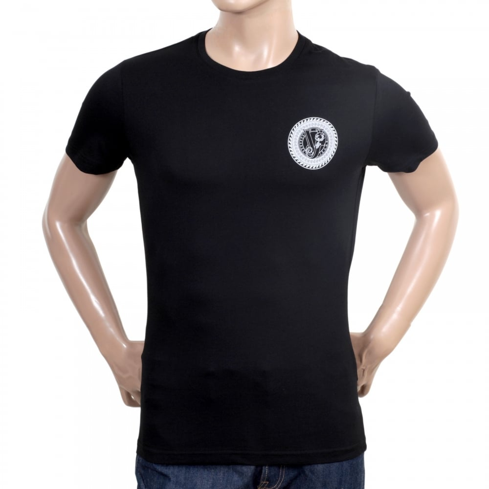 5bf73e2f VERSACE JEANS Mens Short Sleeve Crew Neck Slimmer Fit Black T Shirt with  White Printed Logo on Chest