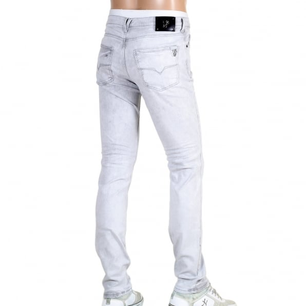 VERSACE JEANS Mens Slim Fit Lower Rise Washed Grey Jeans with Creased Patches at Knees