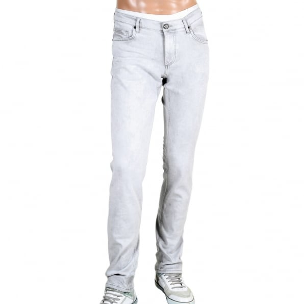 VERSACE Mens Slim Fit Lower Rise Washed Grey Jeans with Creased Patches at Knees
