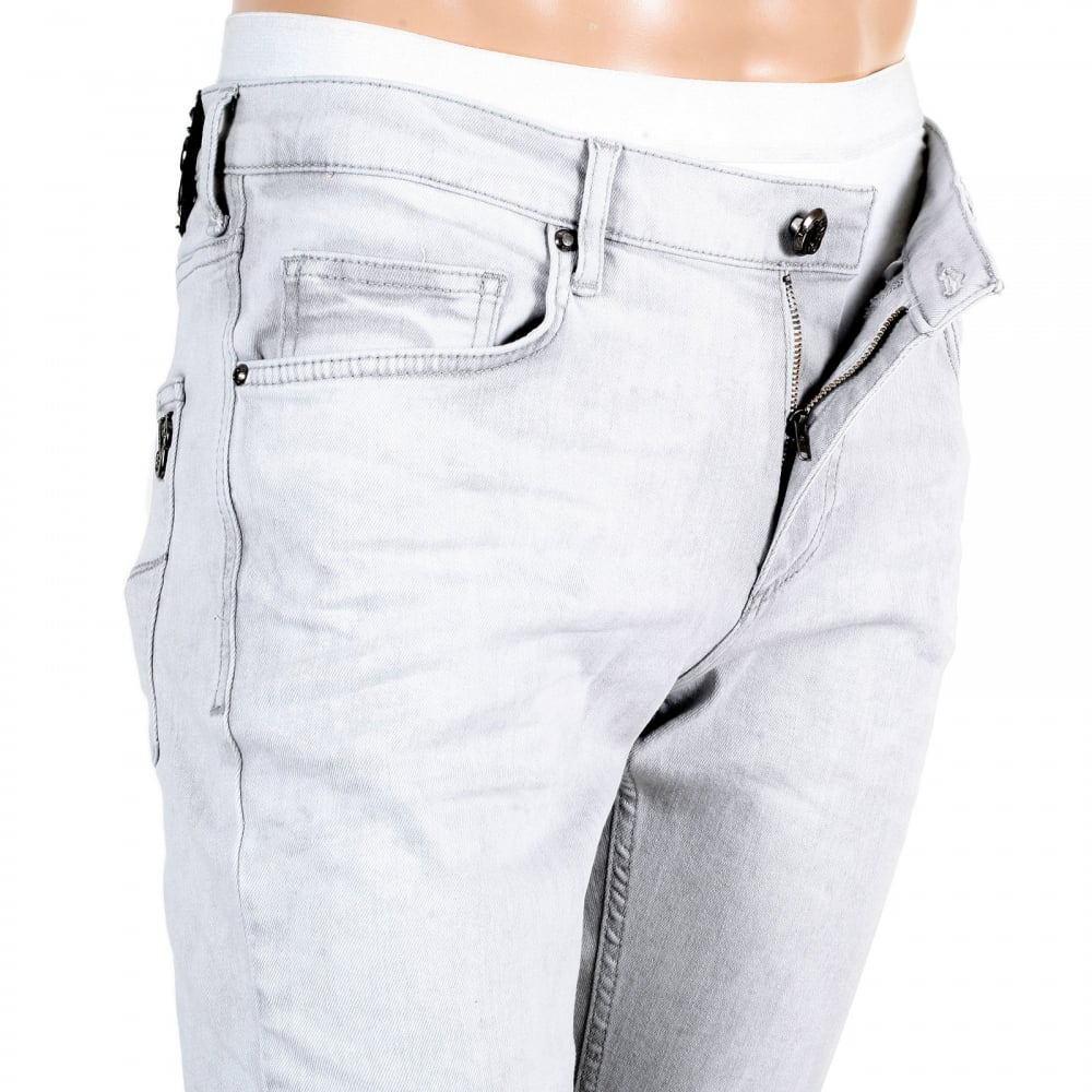 d7460b2b ... VERSACE JEANS Mens Slim Fit Lower Rise Washed Grey Jeans with Creased  Patches at Knees ...