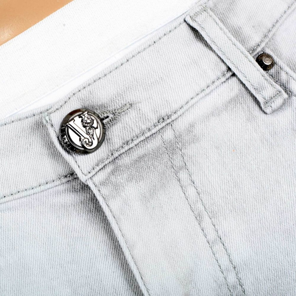 ... VERSACE Mens Slim Fit Lower Rise Washed Grey Jeans with Creased Patches  at Knees ... 2695315b13