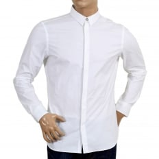 Mens Slim Fit Stretch Cotton White Shirt with Large Self Coloured Lion Head Embroidered Back
