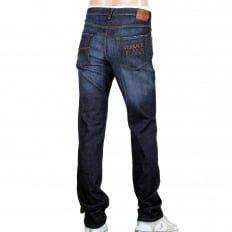 Mens Stretch Denim Jeans with Embroidered Logo on the Back Pocket